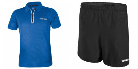 Tibhar Komplett Dress Polo Globe blue + Short Tibhar
