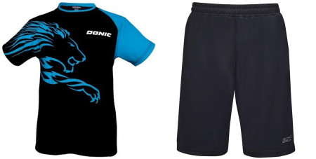 Donic Komplett Dress Shirt Lion cyan + Short Finish