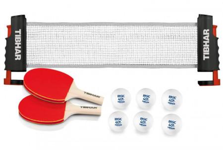 Tibhar Tischtennis Zuhause-Set, Netz-Schläger-Bälle